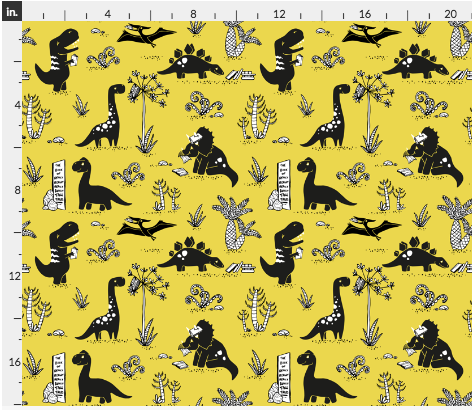 bookish dinosaur fabric