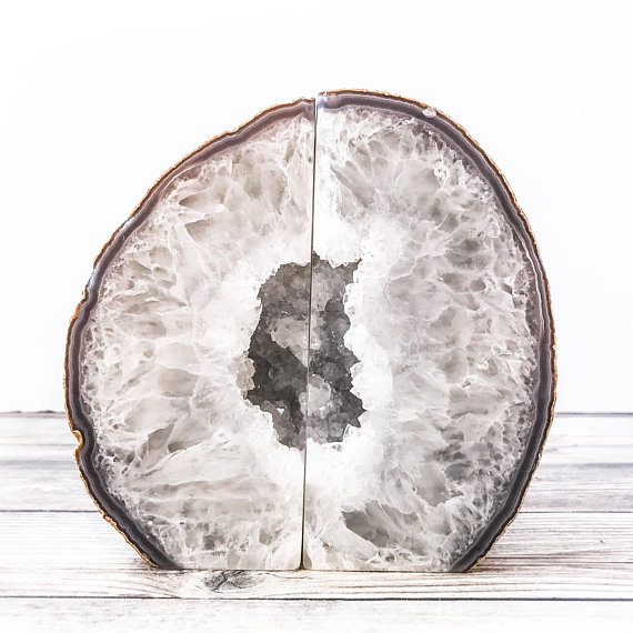 White Geode Bookends