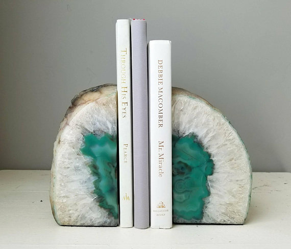 Green agate geode bookends