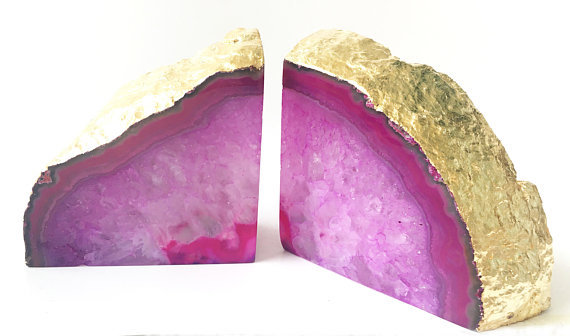 Pink And Gold Geode Bookends