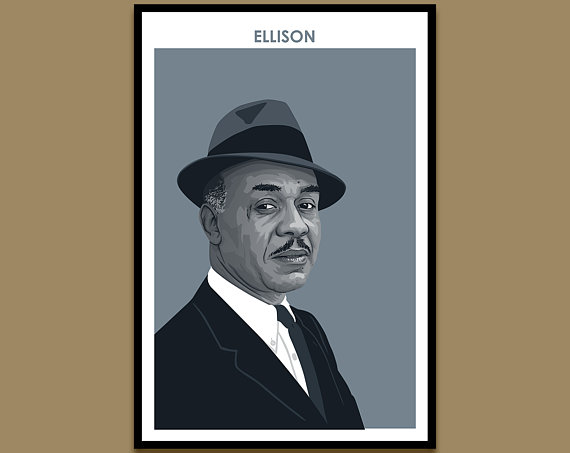 """A framed poster against a tan wall. The poster shows an illustrated portrait of author Ralph Ellison, in a monochromatic blue color palette. At the top of the print, """"Ellison"""" is printed in blue text."""