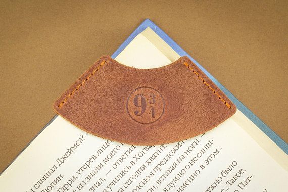 9 3/4 symbol leather corner bookmark