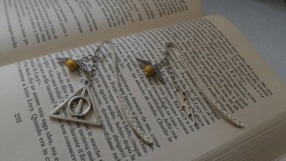 Golden Snitch and Deathly Hallows dangling bookmarks