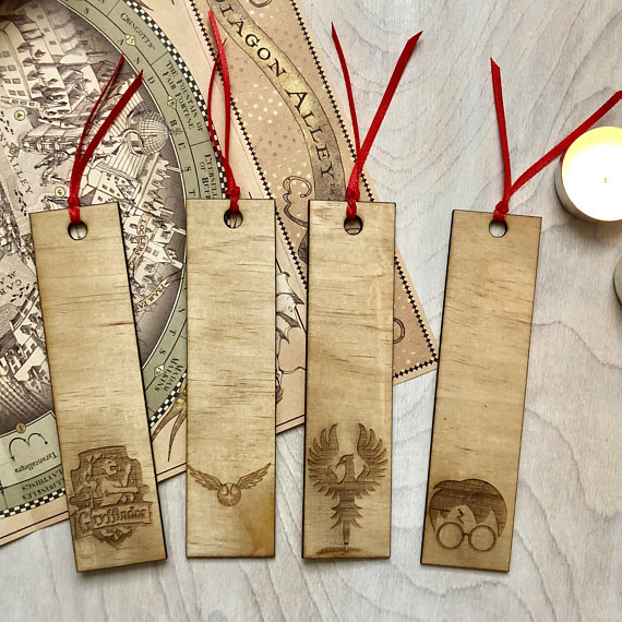 Gryffindor themed laser cut wood bookmarks with lion snitch phoenix and harry potter
