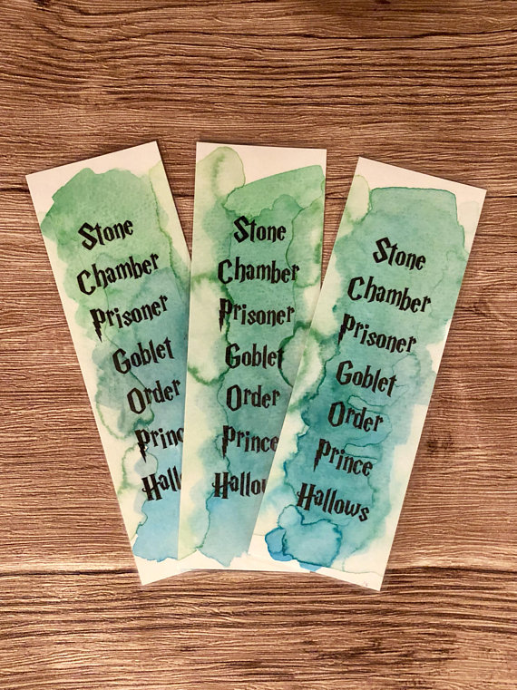 Harry Potter book order watercolor bookmarks