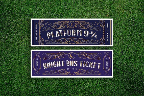 Hogwarts Express and Knight Bus tickets bookmarks