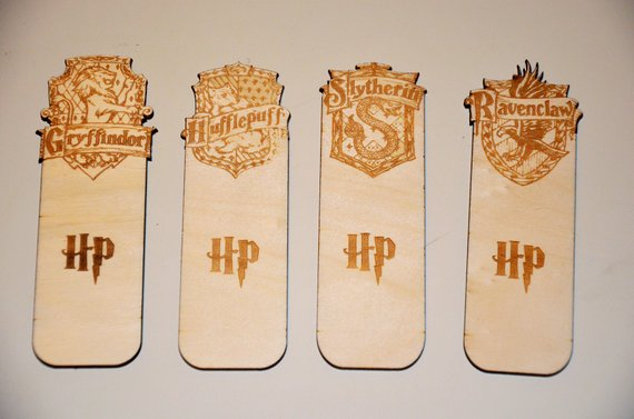 Hogwarts House crest laser cut wood bookmarks