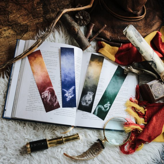 Hogwarts House patronus bookmarks
