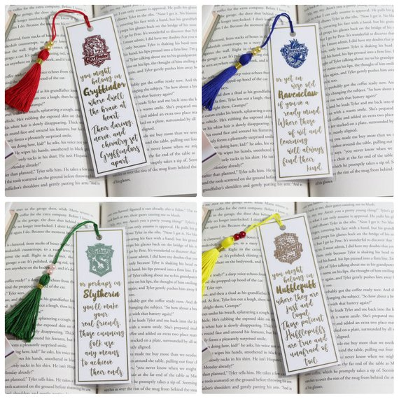 Hogwarts Houses and matching sorting hat quotes bookmarks