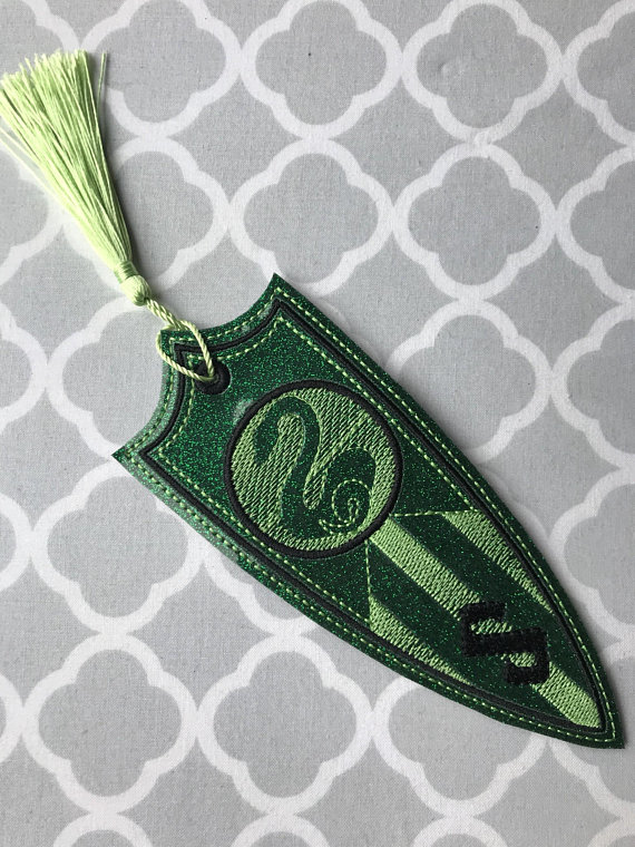 Slytherin embroidered bookmark