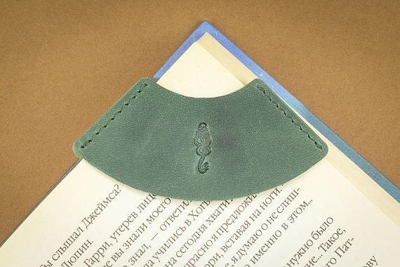 dark mark leather corner bookmark