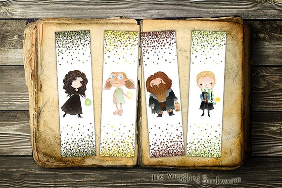 Bellatrix Dobby Hagrid and Malfoy printable bookmarks by The Wriggling Bookworm