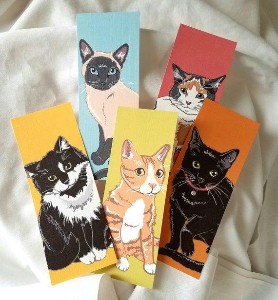 Cat Portrait Bookmarks on Linen Paper