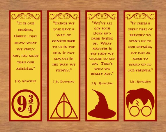 Harry Potter quotes and symbols printable bookmarks by You Print Designs Shop
