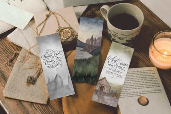 Harry Potter quotes watercolor printable bookmarks by Sweetpages