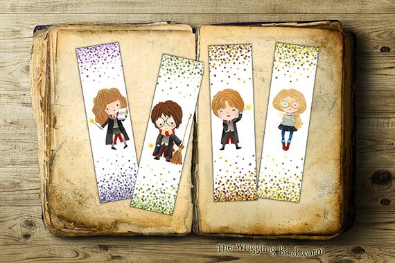Hermione Harry Ron and Luna printable bookmarks by the Wriggling Bookworm