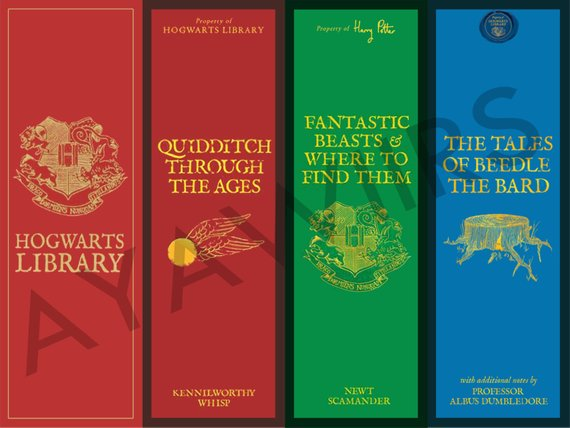 Hogwarts Library printable bookmarks by AYAWIIRS