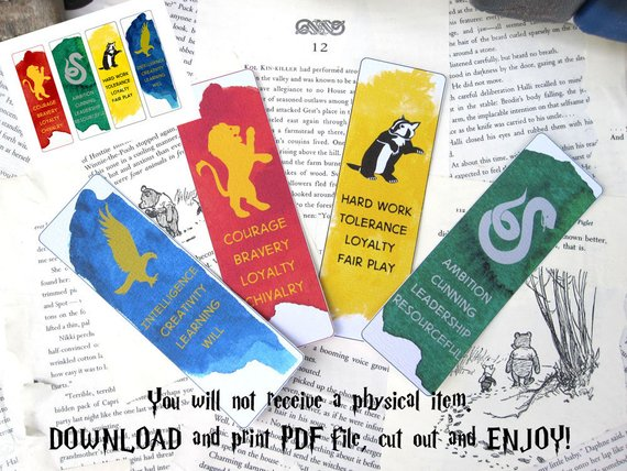 Hogwarts house animal mascots and personality traits printable bookmarks by Life is a Lark Shop