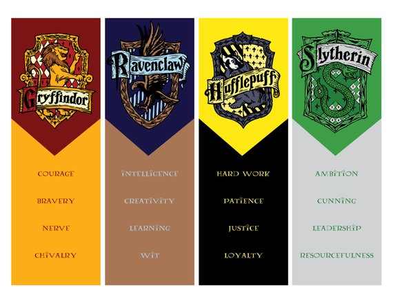 Hogwarts house crest and personality traits printable bookmarks by Every Darling Detail