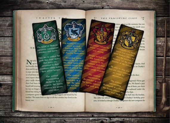 Hogwarts house crests personality traits and house information printable bookmarks by OTG Designs