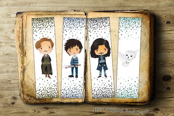Lupin Neville Sirius and Hedwig printable bookmarks by The Wriggling Bookworm