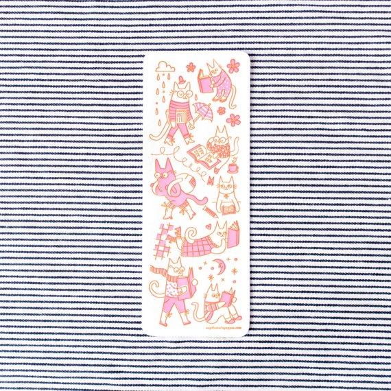 Pink & Orange Letterpress Cat Bookmark