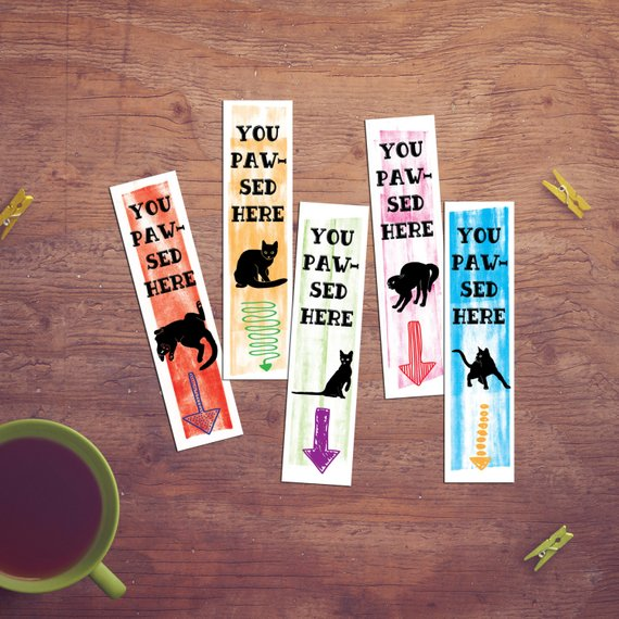"""Printable Black Cat Bookmarks with """"You Pawsed Here"""""""