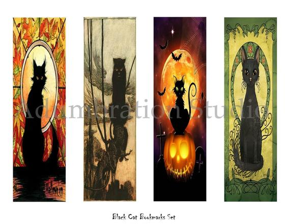 Printable Black Cat Bookmarks with a Halloween Vibe