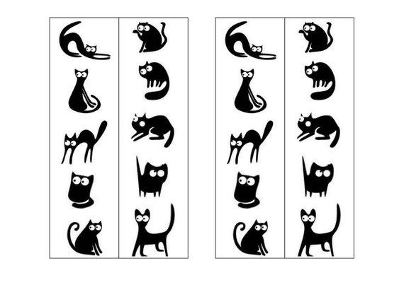 Printable Black & White Cat Silhouette Bookmarks