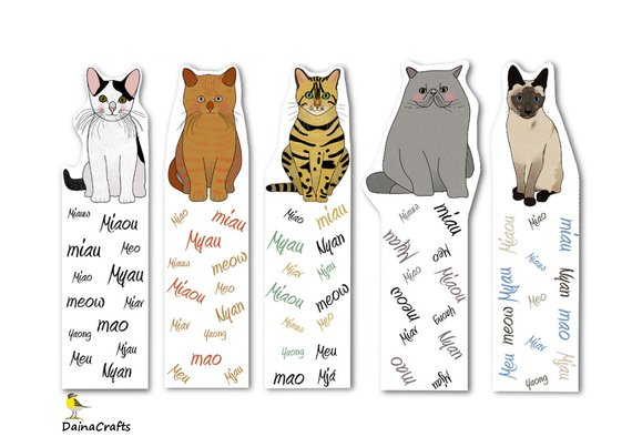 """Printable Cat Bookmarks Featuring """"Meow"""" in Multiple Languages"""