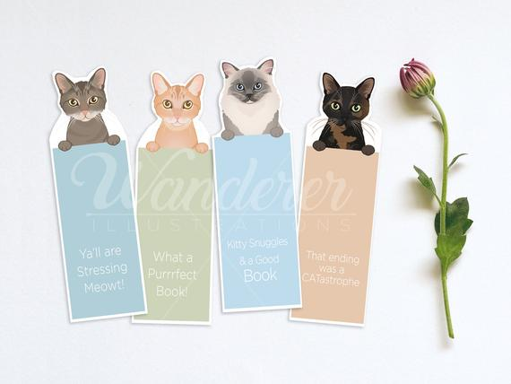 Printable Cat Bookmarks with Silly Sayings