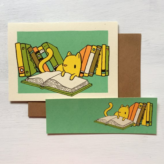 Reading Cat Bookmark and Greeting Card Set