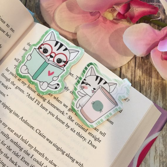 Reading Cat and Coffee Cat Magnetic Bookmarks