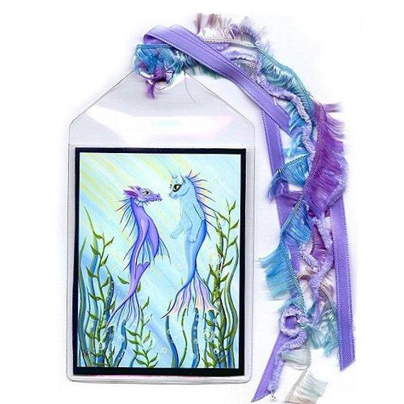 Sea Dragon and Mermaid Cat Bookmark
