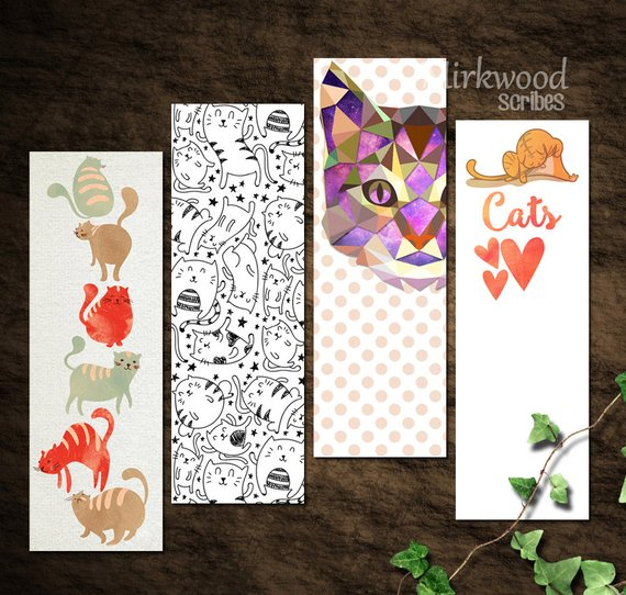 Printable Set of 4 Colorful Cat Bookmarks