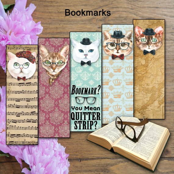 Set of 5 Printable Cat Bookmarks, Cats in Spectacles