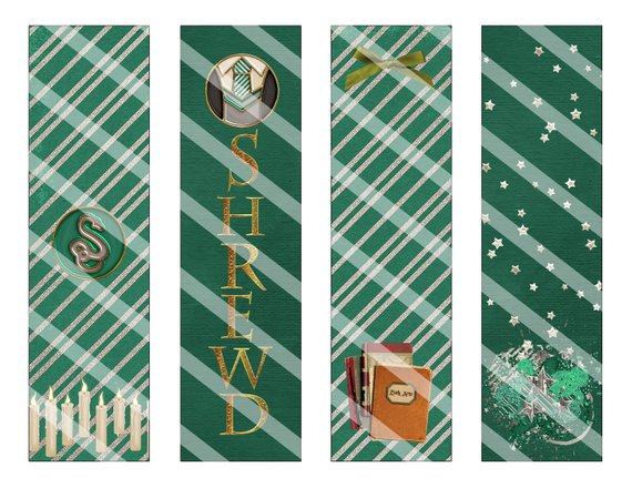 Slytherin printable bookmarks by Vanilla Bean Crafts