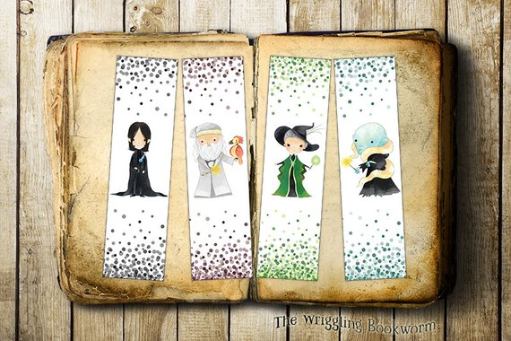 Snape Dumbledore McGonagall and Voldemort printable bookmarks by the Wriggling Bookworm