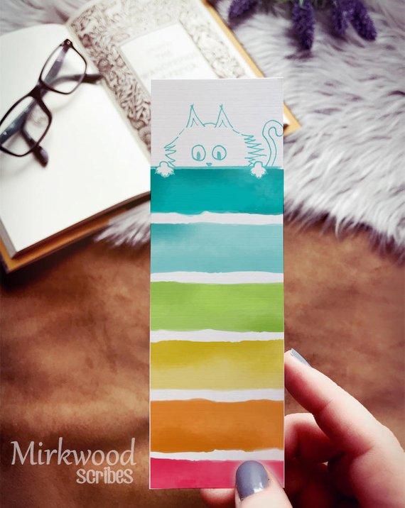 Watercolor Rainbow Peeking Kitty Bookmark