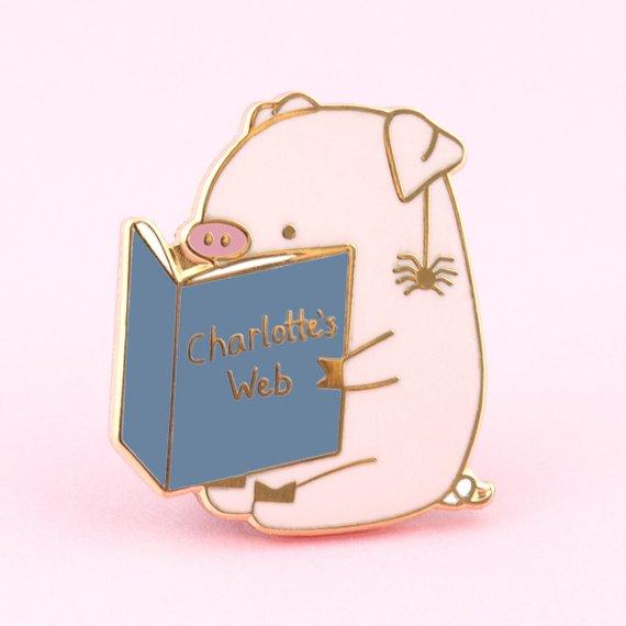 Charlotte's web enamel pin