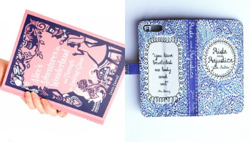 Chick Lit Designs Alice in Wonderland Clutch and Pride and Prejudice Phone Case from 10 Incredible Bookish Etsy Shops | bookriot.com
