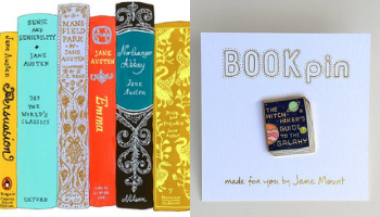 Jane Mount Ideal Bookshelf and Book Pin from 10 Incredible Bookish Etsy Shops | bookriot.com