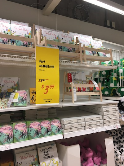Flisat book display at IKEA