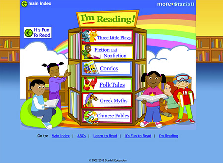 starfall i'm reading bookshelf