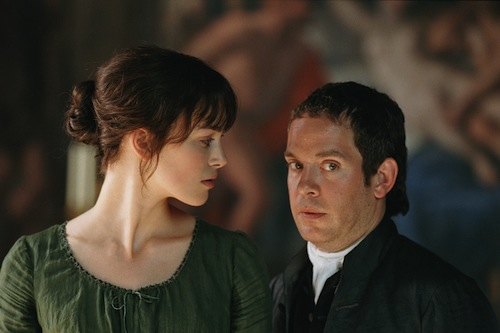image of Keira Knightley as Lizzie and Tom Hollander as Mr. Collins in the 2005 movie Pride and Prejudice