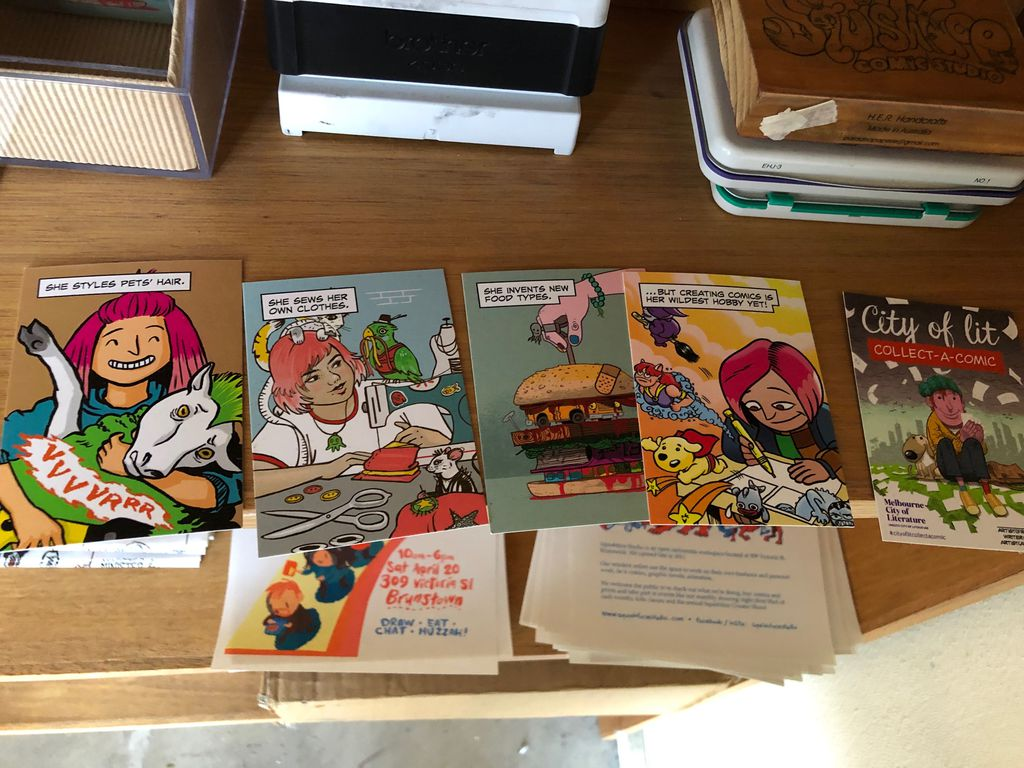 Series of collect-a-comic business cards