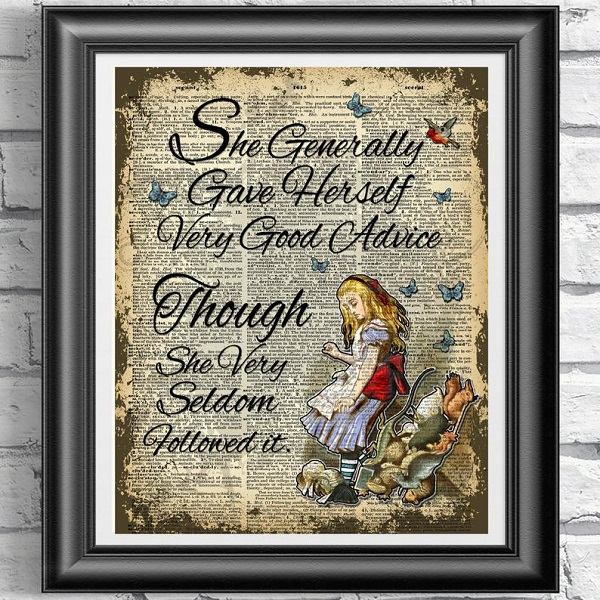 she_generally_gave_herself_very_good_advice_though_she_very_seldom_followed_it_tenniel_alice_artwork_on_antique_dictionary_page