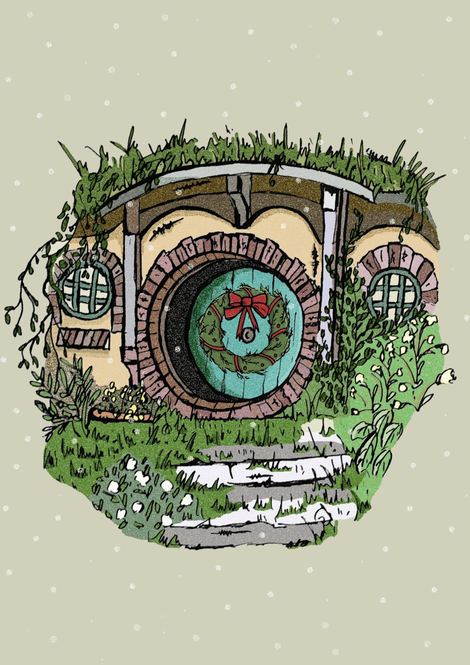 Hobbit Hole Christmas Card