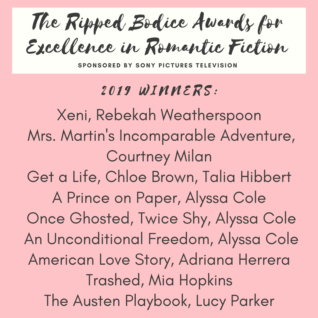 The Ripped Bodice Awards for Excellence in Romantic Fiction Announced