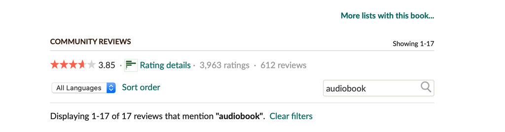 Screenshot of how to search Goodreads for audiobook reviews